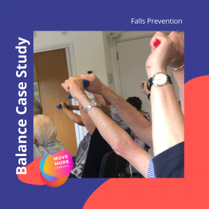 Reaching arms overhead as part of a balance element of falls prevention